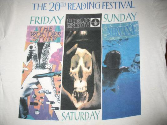 1992 READING FESTIVAL VINTAGE T-SHIRT NIRVANA PUBLIC ENEMY
