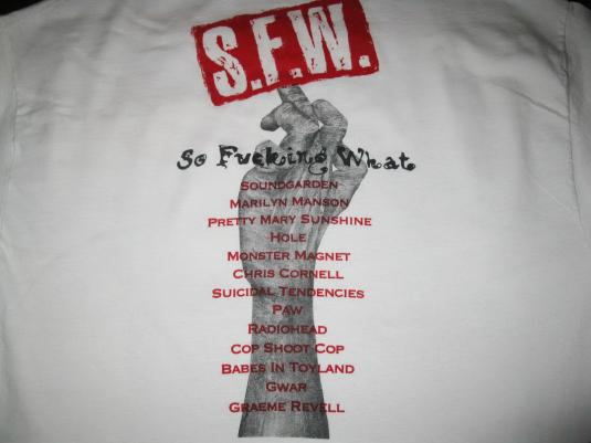 1994 S.F.W. OST SOUNDTRACK VINTAGE T-SHIRT SOUNDGARDEN HOLE