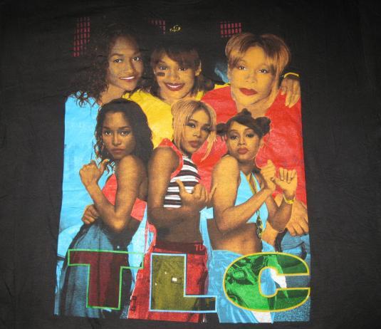 90S TLC VINTAGE T-SHIRT T-BOZ LEFT EYE CHILI HIP HOP