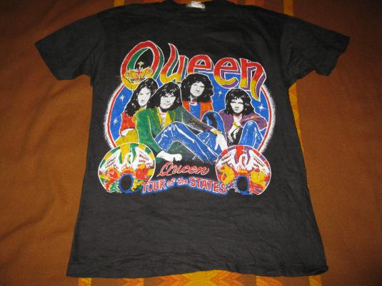 80s QUEEN TOUR OF THE STATES VINTAGE T-SHIRT FREDDY MERCURY