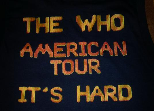 1982 THE WHO IT'S HARD US TOUR VINTAGE T-SHIRT CREW ONLY