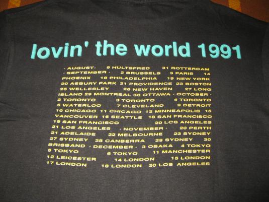 1991 THE WONDER STUFF LOVIN THE WORLD 91 VINTAGE T-SHIRT