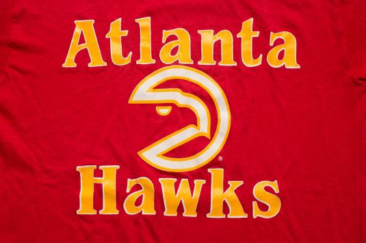 Vintage 80s Atlanta Hawks NBA Team Logo T-Shirt, Soft & Thin