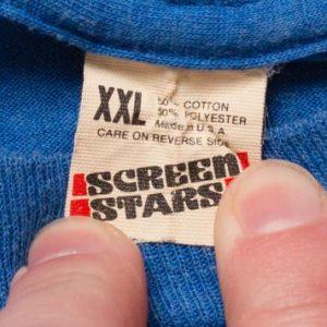 Screen Stars Blue T-Shirt, Thin Blank Tee, 80s, Tagged XXL