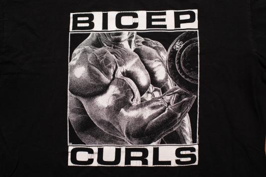 Vintage 90s Bicep Curls T-Shirt, Bodybuilding Arm Muscles