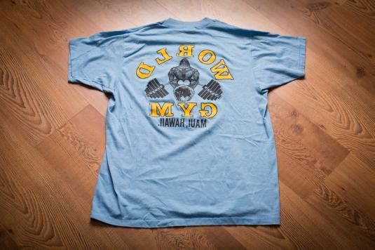 World Gym Maui Hawaii T-Shirt, Gorilla Two Sided Reverse 80s