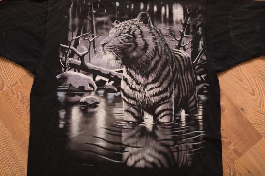 Vintage 1998 White Tiger Exotic Animal T-Shirt, Wild Nature