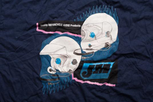 Vintage 90s J&M Motorcycle Helmet Audio Products T-Shirt