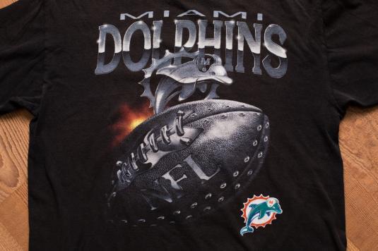 Vintage 90s Miami Dolphins Logo T-Shirt, 3D Chrome-Style