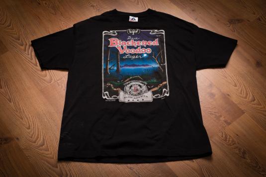 Vintage 90s Dixie Blackened Voodoo Lager T-Shirt, New Orleans Beer