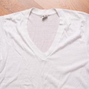 Kmart's Best Deep V-Neck Blank T-Shirt, White, Thin See-Thru