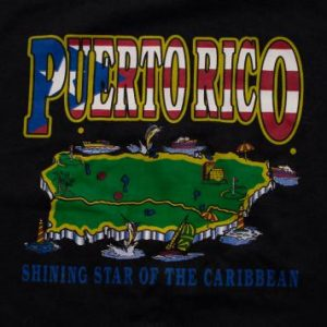 Vintage 80s Puerto Rico Island T-Shirt, Cartoon Map, Caribbean