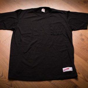 Jerzees Logo Patch Pocket T-Shirt, Branded Black Tee 80s-90s