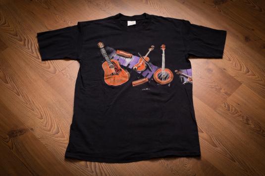 Vintage 90s Hazelwoods T-Shirt Acoustic Guitar Banjo Violin