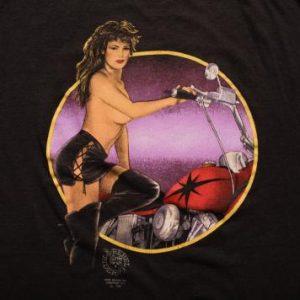 Vintage 90s Sexy Topless Woman Biker Rebel Rider T-Shirt