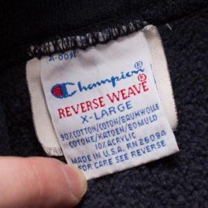 Champion NAVY Hoodie Sweatshirt, Reverse Weave, Military 80s