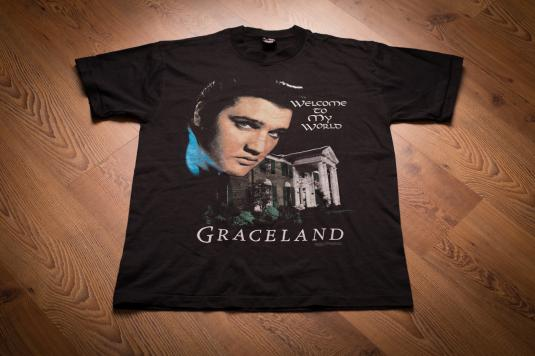 """Vintage 90s Elvis Graceland """"Welcome to My World"""" T-Shirt"""