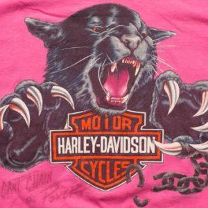 Pink Harley-Davidson Black Panther T-Shirt, Motorcycles, 90s