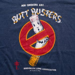 Rare Vintage 80s Cigarette Butt Busters T-Shirt, Ghostbusters Spoof