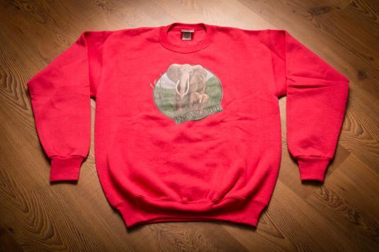Vintage 90s Endangered Elephants Crewneck Sweatshirt, Lee