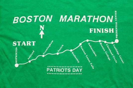 Vintage 80s Boston Marathon Race Route T-Shirt, Patriots' Day