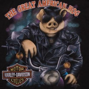 3D Emblem Great American Hog T-Shirt, Harley-Davidson, 90s