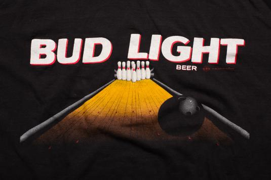 Vintage 90s Bud Light Beer Bowling Alley Graphic Ad T-Shirt