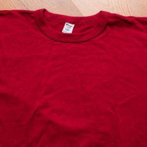 Champion Blank T-Shirt, Burgundy, Maroon, Logo Sleeve, 80s