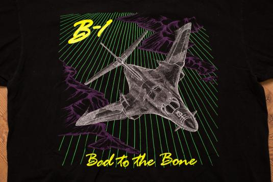 Vintage 90s B-1 Bomber Fighter Jet Airplane Neon T-Shirt