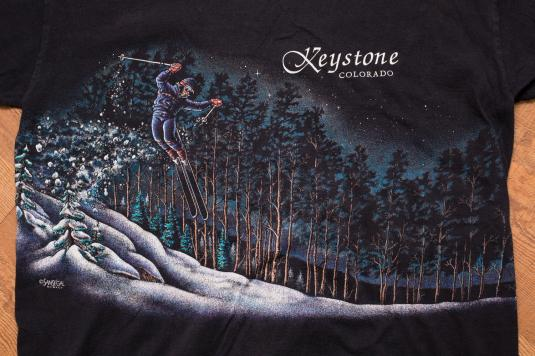 Vintage 90s Keystone, Colorado Skiing T-Shirt, Winter Scene