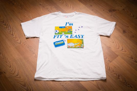 """Vintage 90s Perdue Chicken """"I'm Fit 'N Easy"""" Promo T-Shirt"""