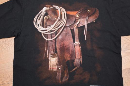 Vintage 90s 3D Emblem Rodeo Saddle & Cowboy Gear T-Shirt