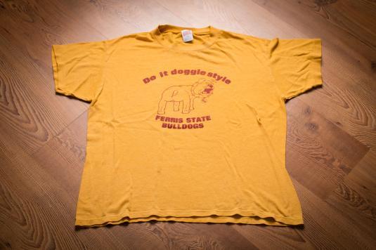 Do It Doggie Style Ferris State Bulldogs T-Shirt, 80s, Dog