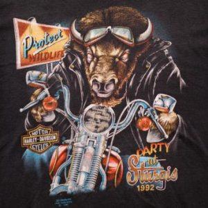3D Emblem Party at Sturgis 92 Bison T-Shirt, Harley-Davidson
