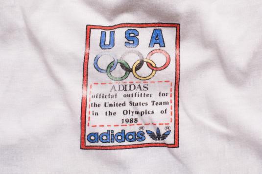 Adidas 1988 USA Olympics T-Shirt Trefoil Graphic Vintage 80s