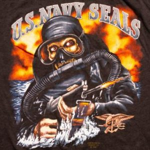 Rare 1989 US Navy Seals 3D Emblem T-Shirt Frogman Graphic