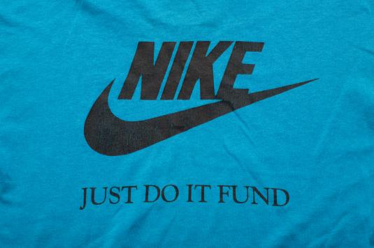 Vintage 80s-90s Nike Forum T-Shirt, Just Do It Fund, Teal