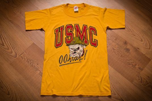 USMC Oohrah Bulldog T-shirt, Vintage 80s, US Marines USA Dog