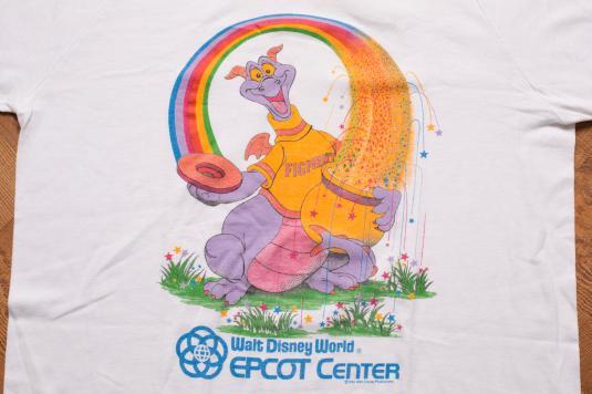 Vintage 80s Walt Disney Figment Rainbow T-Shirt Epcot Center