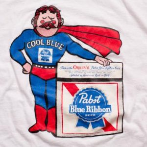 Pabst Blue Ribbon Beer T-Shirt, Cool Man Superhero, 80s Tee