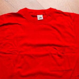 Fruit of the Loom Blank Pocket T-Shirt, S, Red, Vintage 80s