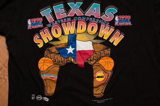 Vintage 90s Texas Showdown Rockets vs. Spurs NBA Playoffs T-Shirt