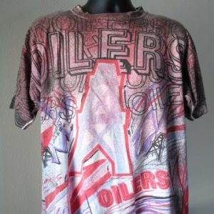 90's Houston Oilers Rare Vintage NFL All Over Print T-Shirt