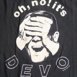 Vintage 1982 Oh No It's Devo Pop New Wave Band Black T Shirt