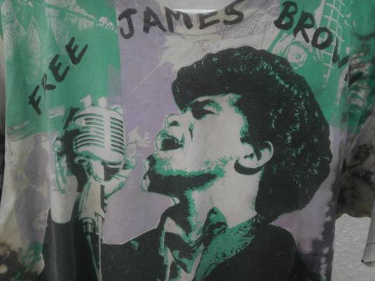 FREE JAMES BROWN 1988 Vintage t-shirt drugs arrest music