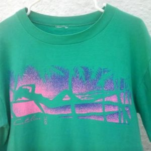 1986 POLYTEES Catalina tourist shirt neon vintage t-shirt