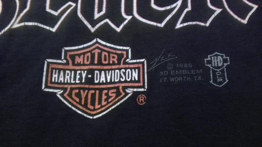 Vintage 1986 Harley Davidson 3D Good Guys Wear Black t-shirt
