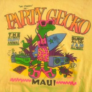 80s NEON MAUI Party Gecko Hawaii Vintage T-shirt 1987