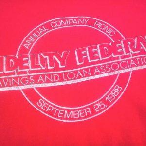 Vintage 1988 soft Bank Fidelity Federal Savings t-shirt Ohio