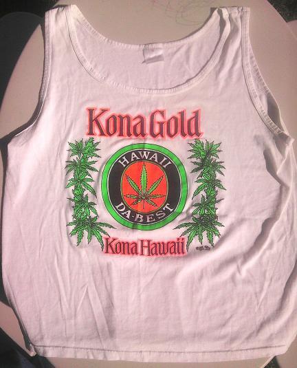 KONA GOLD Hawaii Pot 1990 vintage weed drug NEON t-shirt